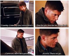 [SET OF GIFS] I can't believe they have Crowley in the trunk :D 9.01 I Think I'm Gonna Like It Here #SPNS9