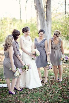 @Amanda Suter Pewter dresses with purple shoes and flowers    see how none of their dresses are the same....