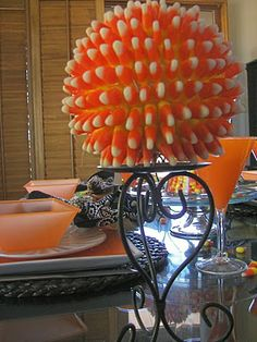 Candy Corn Spheres -- This is my favorite craft at Halloween!  Make one in less than 30 minutes.
