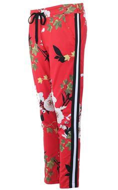 3b858d82028 Červené květované kalhoty Hailys  kalhotyspruhem  cervenekalhoty