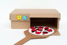 Cardboard Box Pizza Oven (Shoe Box Crafts) - Fun Crafts Kids Kids Crafts diy craft box for kids Kids Craft Box, Fun Crafts For Kids, Diy For Kids, Craft Ideas, Cardboard Box Ideas For Kids, Play Ideas, Carton Diy, Diy Karton, Cardboard Crafts