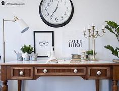 Furniture makeover: You'll never believe how this desk look like before we gave it a makeover. It looks sooooo chic now. Desk Makeover, Furniture Makeover, Ikea Furniture, Colorful Furniture, Wall Clock Ikea, Big Clocks, Old Desks, Creating A Brand, Industrial Chic