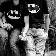 dawwe, matching batman shirts #cute #couples