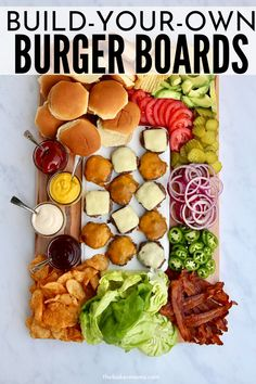 Build Your Own Burger Board is the perfect Game Day Party Board! Burgers and all the condiments that you can let your guests pile on and create their own custom burger. Charcuterie Recipes, Charcuterie And Cheese Board, Beef Recipes, Cooking Recipes, Healthy Recipes, Icing Recipes, Pudding Recipes, Turkey Recipes, Chicken Recipes