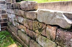 Using Barn Foundation Stone in the Landscape, Thinking Outside the Boxwood Stone Retaining Wall, Retaining Walls, Rock Garden Design, Yard Landscaping, Landscaping Ideas, Stone Barns, Statement Wall, Paving Stones, Faux Stone
