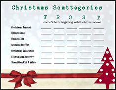 Play this game like the classic scattergories board game -- each player chooses a word for each corresponding letter. The letters we chose are FROSTY. For example, name a Christmas Song that starts with an F.The more creative your students are the better!Scoring: Answers only count if NO OTHER PLAYER has the same answer.
