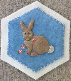 Rabbit-- Outlone - stem stitch 2 strands floss; Tail- Colonial Knots 3 strands…