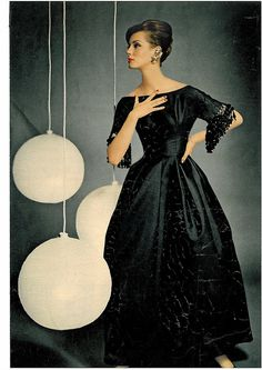 ~Judy Dent, late 50s or early 60s vintage fashion style color photo print ad black evening dress gown model magazine