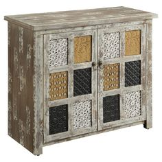 Bixby Cabinet in Weathered Wood, Mustard, Black, and White. This could be done with scrapbooking papers, wallpaper samples, or different colors of paint.