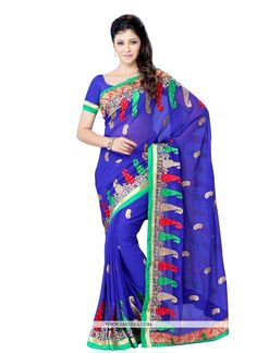 We have ensemble a symphony of enchanting piece to restyle your senses. Style and trend would be at the peak of your beauty the moment you dresses this blue georgette designer saree. Beautified with e...