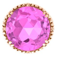 Large Round Pink Sapphire Gemstone Diamond Ring In Rose Gold Available Exclusively at Gemologica.com