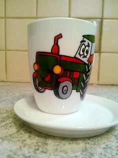 Handmade by Do : Painted cup, tractor/ Cană pictată, tractor October 15, On October 3rd, July 4th, Greek Pattern, Ceramic Angels, Painted Cups, Flower Stands, Coffee Set, Hand Painted Ceramics