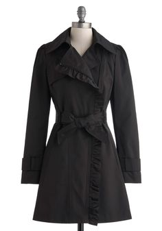 Metropolitan Miss Coat in Noir - Black, Solid, Ruffles, Belted, Long Sleeve, Pockets, Long, 2, Top Rated