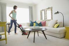 Mid-adult woman vacuuming her contemporary living room. Contemporary Decorative Pillows, Contemporary Furniture Stores, Contemporary Interior, Furniture Making, Living Room Furniture, Set Of Drawers, Stylish Beds, Small Rooms, Design