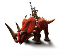 Play for free at DinoStorm.com -- Dino Storm -- Key Artwork 4 --- Cowboys, Dinosaurs, and laser guns!