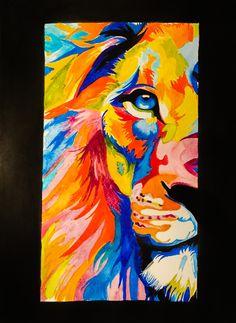 Rainbow Leo #art #watercolour #lion
