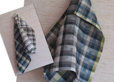 Kitchen Towels Linen Cotton Dish Towels checkered by Initasworks