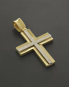 Σταυρός Βαπτιστικός Χρυσός & Λευκόχρυσος Κ14 δύο όψεων