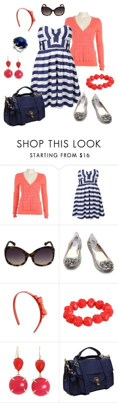 """""""navy + coral"""" by htotheb ❤ liked on Polyvore featuring мода, Ted Baker, Toi Et Moi, Linda Farrow, Michael Kors, Tarina Tarantino, Kendra Scott, Proenza Schouler, House of Harlow 1960 и striped dresses"""