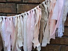 Linen Lace and Burlap Garland Shabby Chic by theruffleddaisy, $32.00....I could make this, but I would use different colors.