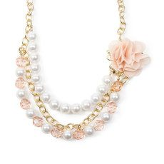 Gold Chain Links,  Pearls and Crystal Beads Multi-Strand Necklace with Peach Chiffon Flower