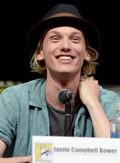 Jamie Campbell Bower speaks at the The Mortal Instruments: City of Bones panel.