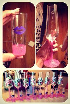 DIY glitter shot glasses and champagne glasses