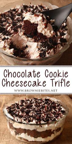 Chocolate Trifle Desserts, Chocolate Cake Mixes, Just Desserts, Delicious Desserts, Dessert Recipes, Layered Desserts, Cookie Cheesecake, Brownie Trifle, Brownie Bites