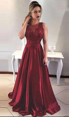 A-Line Round Neck V-Back Maroon Satin Prom #prom #promdress #dress #eveningdress #evening #fashion #love #shopping #art #dress #women #mermaid #SEXY #SexyGirl #PromDresses