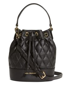 This Black Quilted Emerson Leather Bucket Bag by Vera Bradley is perfect! #zulilyfinds