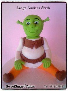 Large fondant Shrek @ R80. For more info & orders, email SweetArtBfn@gmail.com or call 0712127786, WhatsApp 0646446495 R80, Edible Cake, Shrek, Sugar Art, Gum Paste, Cupcake Toppers, Cake Decorating, Dinosaur Stuffed Animal, Fondant Figures