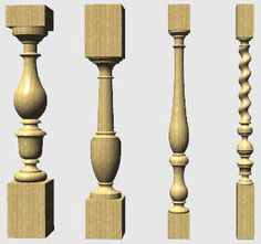 Turned Stair Rails 3D Model - 3D Model Staircase Railing Design, Stairs Balusters, Interior Staircase, Wooden Staircases, Wooden Stairs, Pillar Design, Wood Design, Columns Decor, Wood Carving Designs