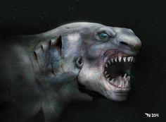 The Sharkman by FutureAesthetic.deviantart.com on @DeviantArt Challenger Deep, King Shark, Worlds Largest, Folk, Halloween Face Makeup, Ocean, Deviantart, Comics, Helmet