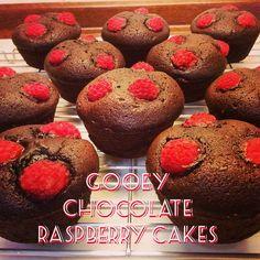Gooey Chocolate Raspberry Cakes