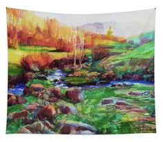 Gilded Hillside, wall art tapestry from Steve Henderson Collections, adding a burst of country color to your home and life. #country #wilderness #landscape #wallart #tapestry