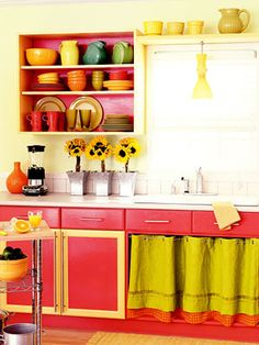 Another Bright Kitchen I'd love to have these colors in my kitchen~ I love the open cupboard too!!