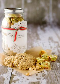 Oatmeal Peanut Butter cookies -- put together in a mason jar for gifts