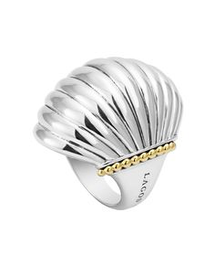 Statement Silver & 18K Gold Fluted Ring | LAGOS.com