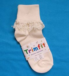 Piccolo Baby Girls White Turquoise Trim Tie Accent Ankle Ruffle Socks 3-5