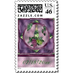 Stained Glass Wine Love Postage Stamp