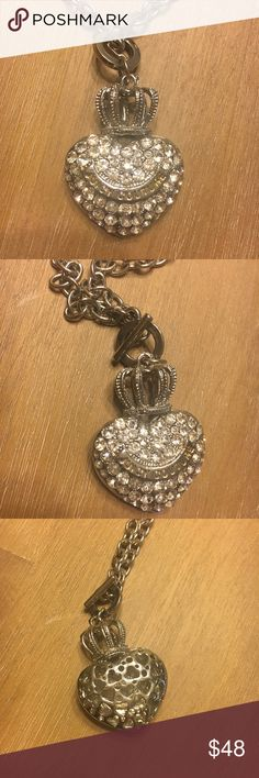 Juicy Couture Silver Pave Crowned Heart Necklace Juicy Couture Silver Pave Crowned Heart Necklace. Crystal/CZ pave heart with crown. Silver chain and toggle closure. Gently used condition.   No trades Juicy Couture Jewelry Necklaces