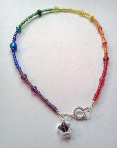 Rainbow anklet! <3   http://www.etsy.com/listing/93863721/beaded-rainbows-anklet?ref=v1_other_2