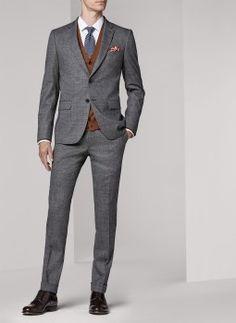 Costume gris moyen - Prince de galles 16HC3IDDA-I528/29 - Costume slim homme
