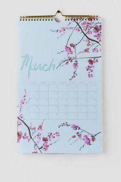 Gold Foil Bloom 2016 Wall Calendar- Francesca's- $19.50