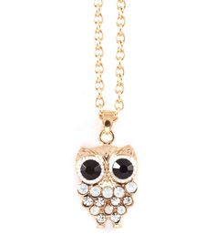 Owly Necklace in Aspen Blue Crystal on Emma Stine Limited