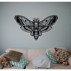 Butterfly Skull Wall Decal Vinyl Sticker Gothic Home Interior Living... ($22) ❤ liked on Polyvore featuring home, home decor, skull home accessories, goth home decor, vinyl home decor, skull home decor and gothic home decor