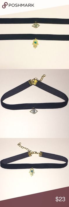 """Good Luck/ Protection Choker Bundle Stay protected & fashionable in these super cute black velvet chokers! One has the protecting evil eye and the other the Hamas hand, both for good luck and protection. Both are super trendy. They measure 12"""" and expand to 14"""". NOT BRANDY MELVILLE. Brandy Melville Jewelry Necklaces"""