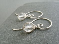 Faceted Crystal Quartz Swirly Earrings sterling by JustynaSart
