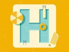 Dribbble - Summer Pool by Shane Pendergrass Typography Inspiration, Graphic Design Inspiration, Typography Design, Lettering, Summer Logo, Typographie Logo, Design Art, Logo Design, Rainbow Butterfly