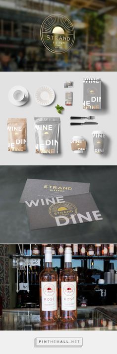Packaging and branding for Strandbistron by Lobby Design curated by Packaging Diva PD. Shiny graphic identity which is carried by everything from the front of the venue to the label on the restaurants own vine.
